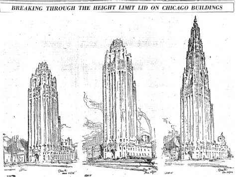 Three versions of the Tribune Tower