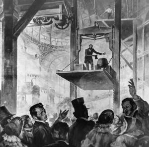 Elisha Otis Demonstrating Elevator